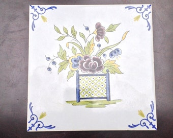 Vintage Handmade Cottage Tile - Dutch, Made in Holland; Shipping Included to US and CA
