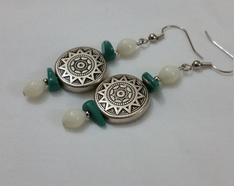 Aztec Accent with White and Turquoise color beads