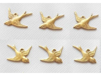 6 Small Swallow Charms - 1 Ring Left and Right Facing