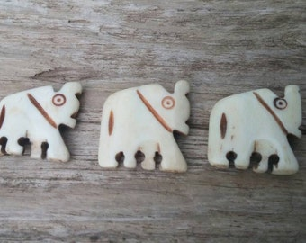 3 Carved Buffalo Bone Elephant Beads