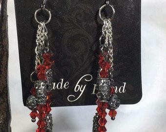 3 Strand Red Swarovski Crystals Earrings