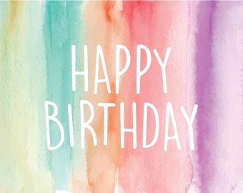 Happy Birthday Watercolor Card | Birthday Cards
