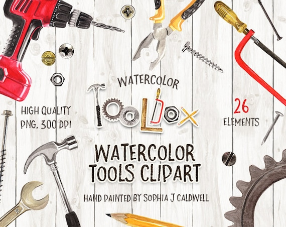 woodworking tools clipart. tool clipart, watercolor graphics, instant download, png files, woodworking tools, scrapbooking supplies, scrapbook embellishment, toolbox tools clipart