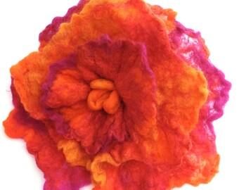flower brooch, pink and orange