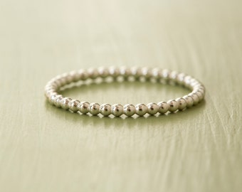 Silver Bead Ring - Sterling Silver Stacking Ring - Beaded Stacking Ring - Bobble Ring