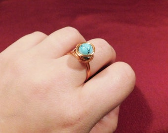 Rose Gold Wire Wrapped Turquoise Ring