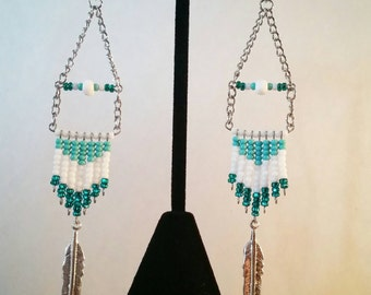 Turquoise&White Beaded Fringe Earrings with Silver Feather