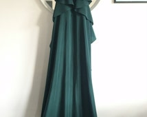 Green silk dress, Summer dress, halter neck dress, cocktail dress, made to measure dress, ruffle dress,green gown, maxi dress, silk gown