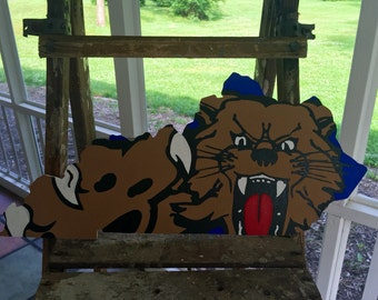 Hand Painted University of Kentucky Wildcat on KY State Cutout