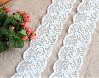 """10 yard 5cm 1.96""""  wide ivory Dragonfly tulle gauze dress mesh embroidered lace trim tapes ribbon eb7ef free ship"""