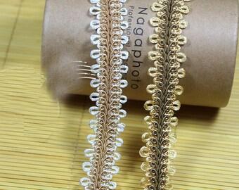 "10 yard 2.8cm 1.1"" wide ivory/gold lace trim ribbon L17K36 free ship"