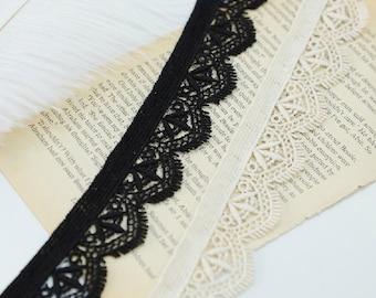 "10 yard 3cm 1.18"" wide black/beige embroidery lace trim trims ribbon L22K199 free ship"