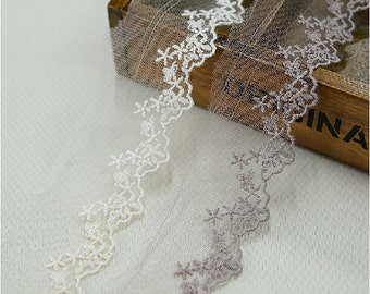 "15 yard 4.5cm1.77"" wide beige/coffee mesh embroidery lace trim ribbon L22K261free ship"