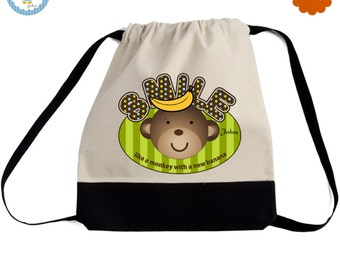 Personalized Monkey Drawstring Tote Backpack