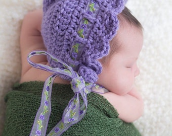 Crochet Baby Bonnet - Purple Bonnet - Newborn Baby Bonnet - Vintage Style Baby Bonnet - Girls Bonnet - Crochet Baby Hat - Baby Photo Prop