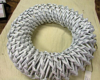 Hand Made Faux wicker wreath, Upcycle Newspaper Wicker Wreath