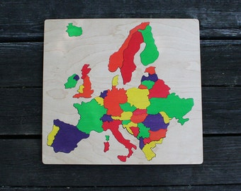 Europe Wooden Map Puzzle, Handmade, Wooden Name Jigsaw Puzzles