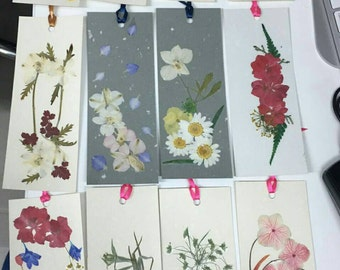Pressed Flower Personalized Paper Bookmark for book Lover