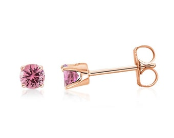 100% 14K Rose Gold Genuine Pink Diamond-Cut Sapphire Gemstone Stud Earrings .20ct - 3mm Round - September Birthstone - Gift for Her