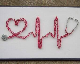 Stethoscope, Heart, String Art, Medical, Healthcare Decor