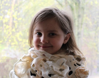 Girl felted scarf from merino wool