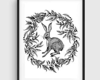 Hare Illustration, Hare Art, Hare Drawing, Rabbit Drawing, Rabbit Illustration, Rabbit Art, Black White Print, Bunny Print, Bunny Drawing