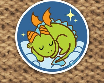 Vinyl Sticker - Tiny Green Dragon Takes a Nap! Waterproof, for Indoor or Outdoor Use!