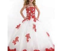 Girl Ball Gown Scoop Appliqued Glitz Pageant Floor Length Flower ,Prom,Birthday,Wedding Girls Dresses
