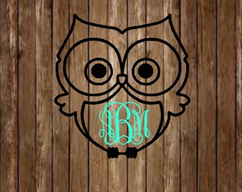 Owl Monogram Decal-Monogram Decal-Owl Decal-Custom Decal-Bird Decal-Personalized Decal