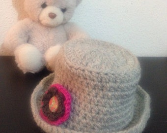 Crochet Hat baby summer Hat baby Hat gray with pink flower 0-3 months summer Cap light grey Sun