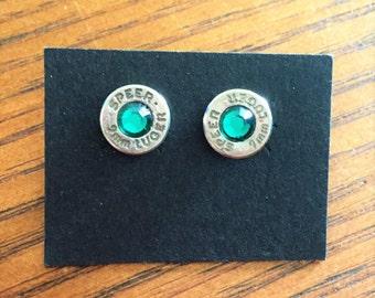 9mm Bullet Casing Earrings - Emerald Rhinestone on Nickel Casing