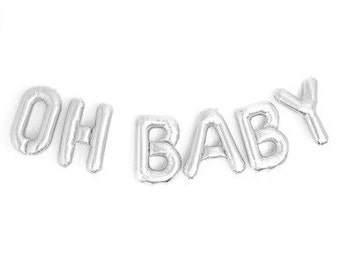 "OH BABY Silver Foil Letter Balloon Banner - Silver Foil Balloon Letters Combo ""Oh Baby"" - Baby Shower Balloon Banner (16""/41cm)"
