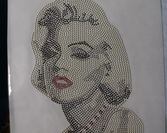 iron on  DIY t-shirt marilyn monroe rhinestone design