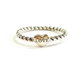 Heart rope silver ring 925, Sterling silver ring, Dainty ring