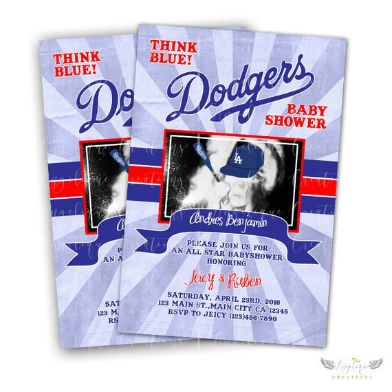 Dodgers Baby shower Invitations & Blank Digital Thank You Card to match