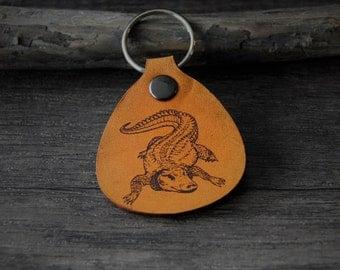Crocodile - genuine leather keychain