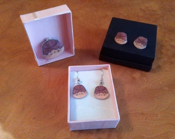 Pudding, Flan kawaii Necklace and earrings, long and button earrings
