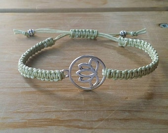 Lotus Macrame Bracelet, Macrame Bracelet, Macrame Jewelry, Bar Bracelet, Woven Bracelet, Braided Bracelet, Adjustable Bracelet