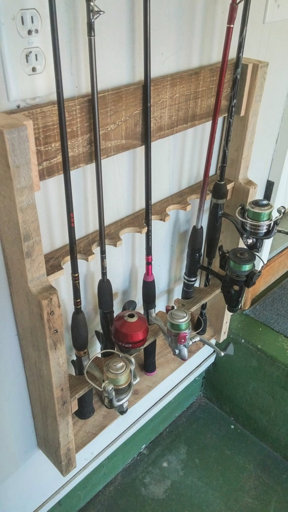 Items similar to wall mount fishing rod holder rod rack for Wall fishing rod holder