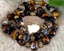 Tigers Eye Buddha Bracelets Buddha Bracelets Brown and Black Bracelets Stretch Bracelets