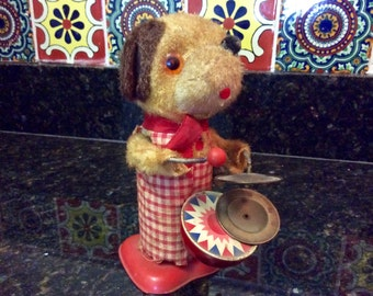 Vintage Wind-Up Dog Playing Drum and Cymbal Toy - Made in Hong Kong