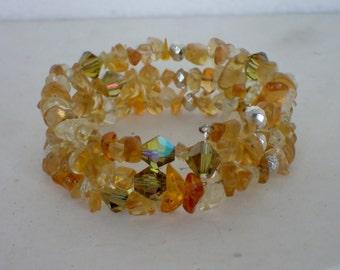 Yellow Glass and Swarovski Crystal Beaded Memory Wire Bracelet
