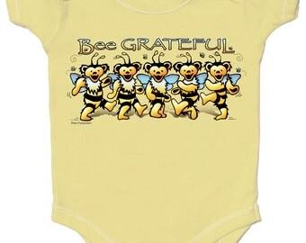 Grateful Dead Baby- Bee Grateful One piece bodysuit/ Dancing Bears/ Snap up/ Infant/Onesie/creeper/romper