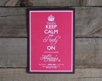 Customizable Keep Calm and Carry On Invitation, Digital Download