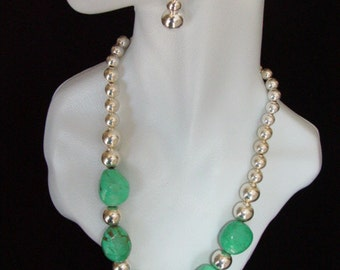 Large Turquoise Nugget and Graduated Sterling Silver Bead Necklace