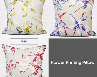 """Luxury Yellow/Blue/Red Flower Printing Pillow Cover 20""""X20"""""""
