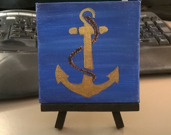 Nautical Navy anchor - Small Art Painting with Desktop Easel, 4 x 4 inch
