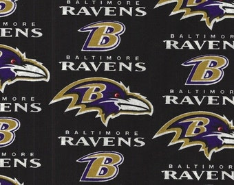 "Football Team Fabric...Baltimore Ravens Quilt Fabric 60""."