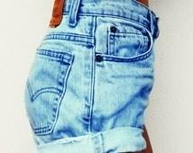 High Waisted Denim Jean Shorts Cuffed