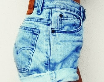 Levis High waisted shorts cuffed Denim Jean frayed distressed all sizes